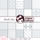 Metallic Silver Digital Paper - Silvery Gray Background Patterns