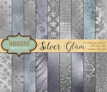 Metallic Silver Foil Glam Glitter Digital Paper Textures B