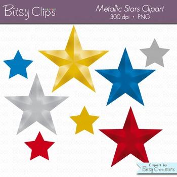 Metallic Stars Digital Art Set Clipart INSTANT DOWNLOAD Star Clipart
