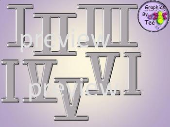 Metallic Grey Roman Numerals Clipart