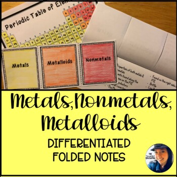 Metals, Metalloids, & Nonmetals: Differentiated Foldable Notes