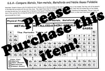 Metals, Non-Metals, Metalloids, and Noble Gases Foldable-ONLY