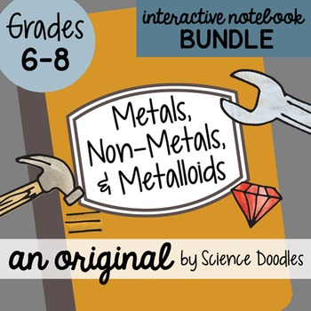 Metals, Non-Metals, and Metalloids Science Doodles Interactive Notebook BUNDLE