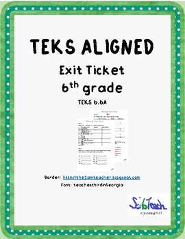 Metals, Nonmetals & Metalloids Exit Ticket  (TEKS 6.6A)