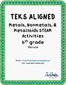 Metals Nonmetals Metalloids STEAM activities