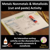 Metals, Nonmetals, Metalloids (cut & paste) Activity