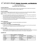 Metals, Nonmetals, and Metalloids Game Puzzle with Worksheet