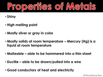 Metals, Nonmetals, and Metalloids - PowerPoint and Notes