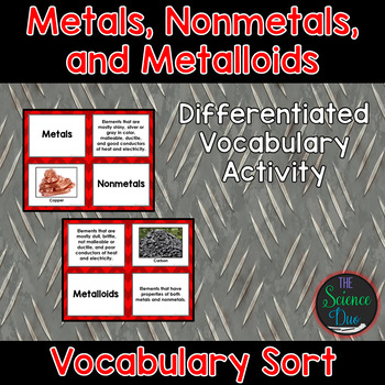 Metals, Nonmetals, and Metalloids Vocabulary Sort