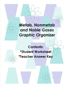 Metals, Nonmetals and Noble Gases Graphic Organizer