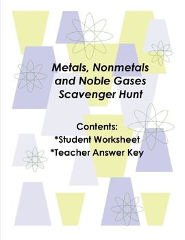 Metals, Nonmetals and Noble Gases Scavenger Hunt
