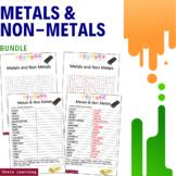 Metals and Non Metals Science Activity - Bundle Scramble Word Finder Vocabulary
