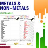 Metals and Non Metals Science Activity - Word Scramble Vocabulary Game Worksheet
