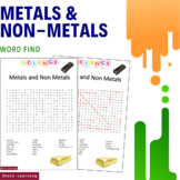 Metals and Non Metals Science Activity - Word Search Finder Vocabulary Worksheet