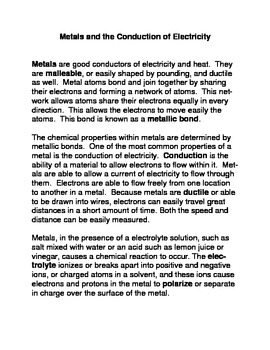 Metals and the Conduction of Electrical Energy Common Core  Activity