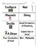 Metals vs. Nonmetals Vocabulary Sort