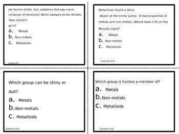 Metals*Non-Metals*Metalloids:Periodic Table 3 Major Division Task Cards