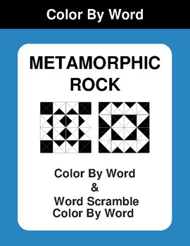 Metamorphic Rock - Color By Word & Color By Word Scramble Worksheets