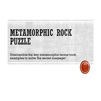 Metamorphic Rock Puzzle