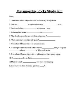 Metamorphic Rock Study Jams Worksheet