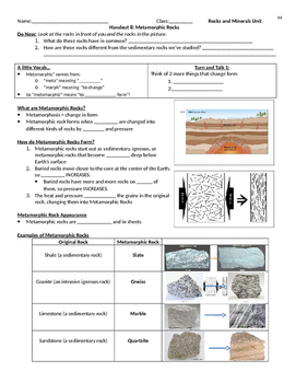 Metamorphic Rocks Guided Notes and Reading Activity