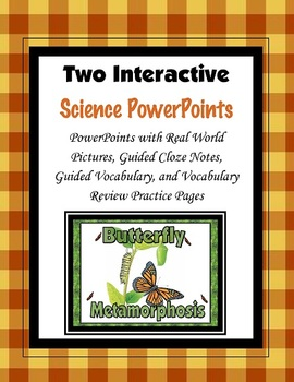 Metamorphosis and the Life Cycle of a Butterfly Cloze PowerPoint and Mini Unit