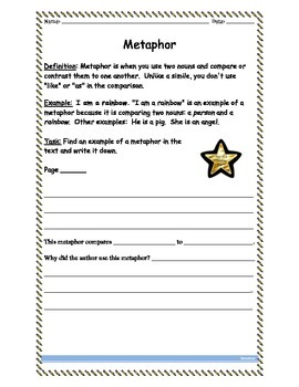 Metaphor Common Core Worksheet for Any Text