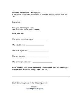 Metaphor Introduction/Review Worksheet