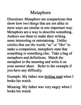 Metaphor Matching Activity