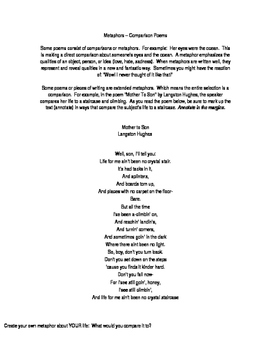 Metaphor Poems / Poetry / Langston Hughes Mother to Son