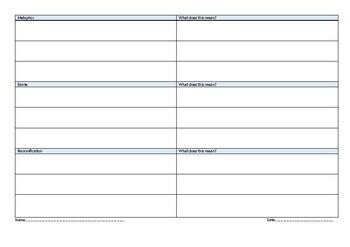 Metaphor, Simile, Personification Worksheet