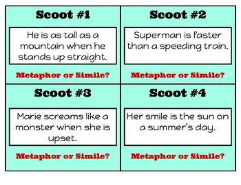 Metaphor & Simile SCOOT Game!  Use for Review, Intervention, or as Task Cards