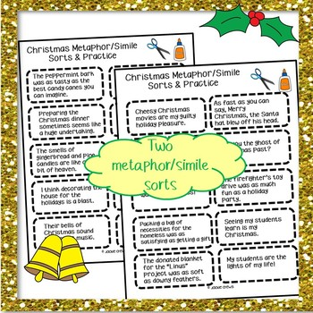 Metaphor/Simile Sorts and Practice for Christmas!