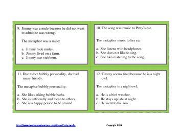 Metaphor Task Cards, Metaphor Literacy Station
