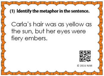 Metaphor Task Cards for Middle School