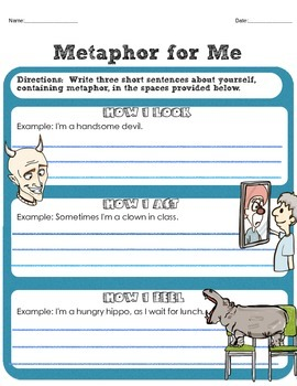 (Dollar Packet Sale) Metaphor Mini Unit Figurative Language Lessons