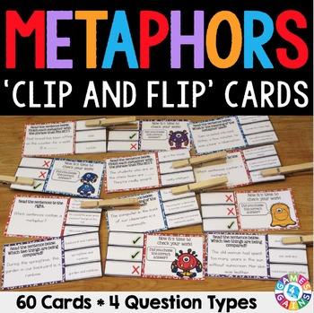 Metaphors Activity: 60 Metaphors Task Cards (Clip and Flip)
