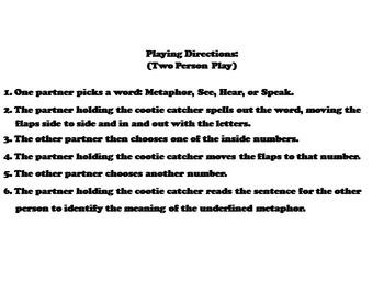 Metaphors Activity/ Figurative Language Foldable Quiz 3rd, 4th, 5th, 6th Grade