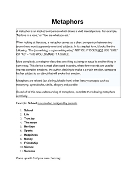 Metaphors - Description and How to Make Your Own - Activity Worksheet