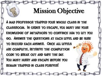 Metaphors Escape Room - ELA  (Figurative Language Activity)