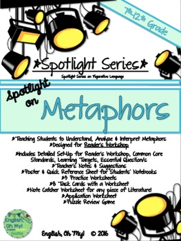 Metaphors: Reader's Workshop, Worksheets, Task Cards, Poster, Puzzle