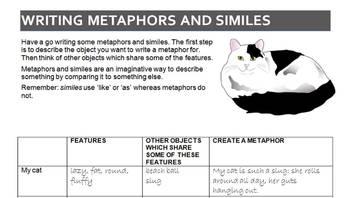 Metaphors Similes and Hyperboles Analyse and Writing Worksheet