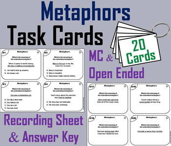 Metaphors Task Cards 3rd, 4th, 5th, 6th Grade Figurative Language Activity
