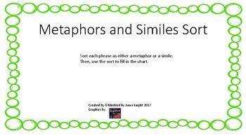 Metaphors and Similes Sort
