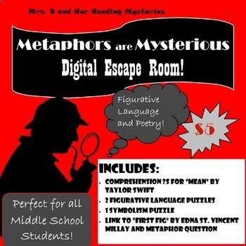 Metaphors are Mysterious: Figurative Language Digital Escape Room- Middle School