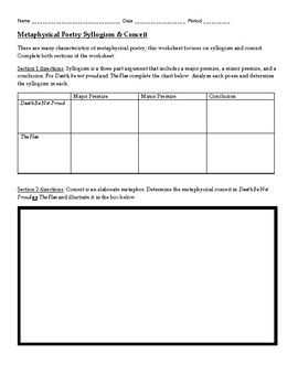metaphysical poetry worksheet by the cordial classroom tpt. Black Bedroom Furniture Sets. Home Design Ideas
