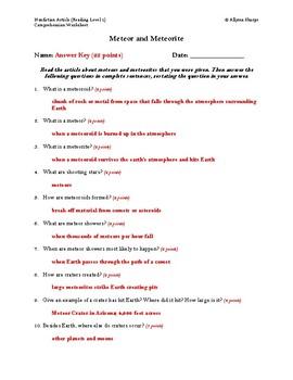 Meteor and Meteorite Article (Reading Level 1) Comprehension Worksheet