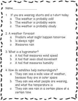 Meteorolgy and Weather Tools Reading Comprehension