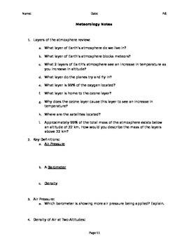 Meteorology Day 3 note worksheet