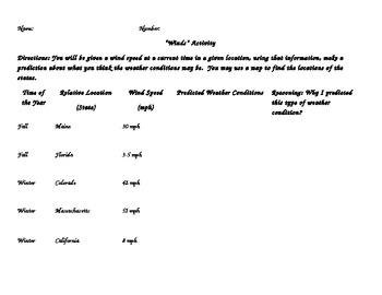 Meteorology Weather Wind/Winds Activity Worksheet